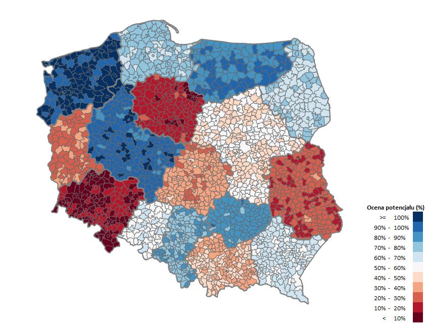 Mapa Polski Excel TOP 4 v3