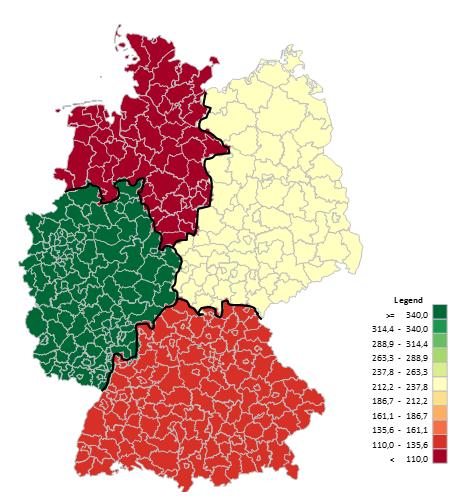 Excel-Karte Deutschland - Daten auf der geographischen Aufteilung 10