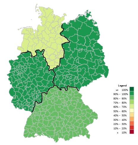Excel-Karte Deutschland - Daten auf der geographischen Aufteilung 4