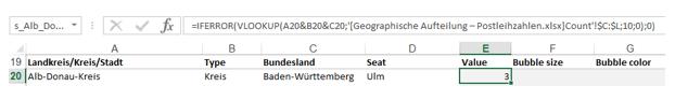 Excel-Karte Deutschland - die geographische Aufteilung mit Postleitzahlen erstellen 8