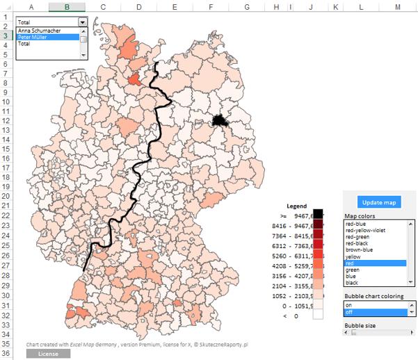 Excel-Karte Deutschland – Daten in einer territorialen Aufteilung mit PLZ 7