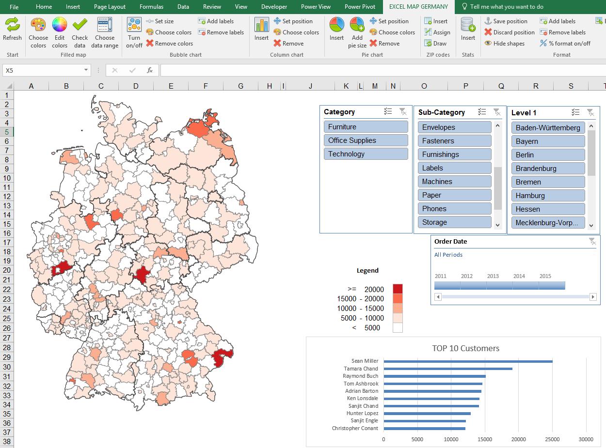Dashboards Mit Excel Karte Mit Pivot Tabelle Und